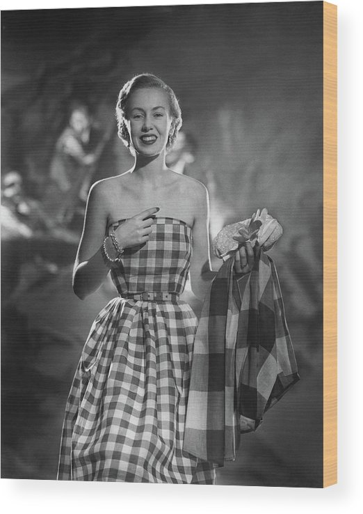 Fashion Wood Print featuring the photograph Mrs. William McManus Wearing Gingham-Check by Ted Croner
