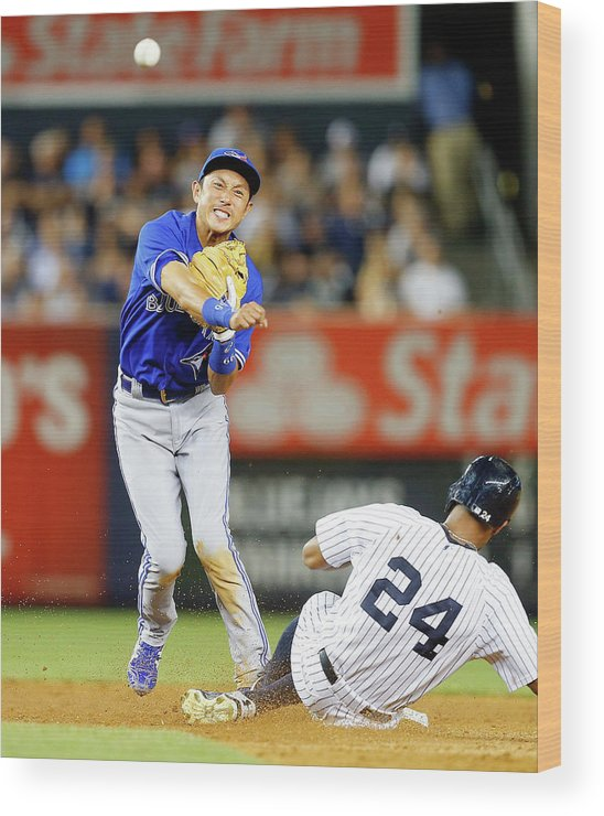 Double Play Wood Print featuring the photograph Munenori Kawasaki and Chris Young by Jim Mcisaac