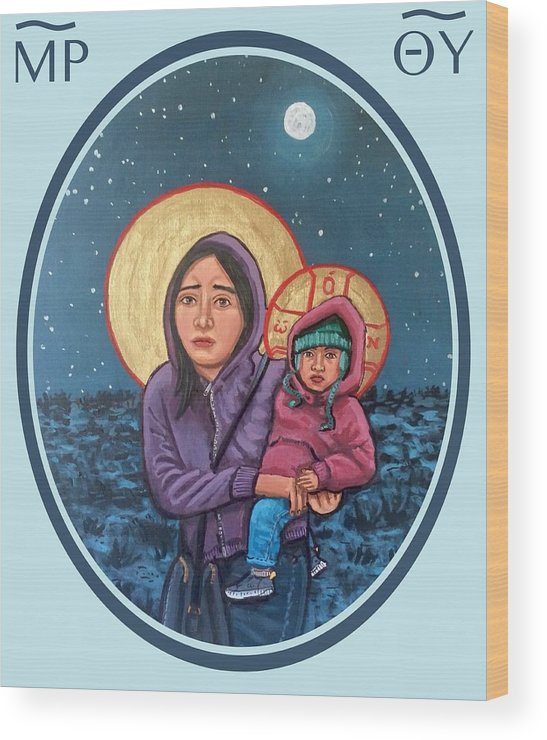 Iconography Wood Print featuring the painting Our Lady of the Journey by Kelly Latimore