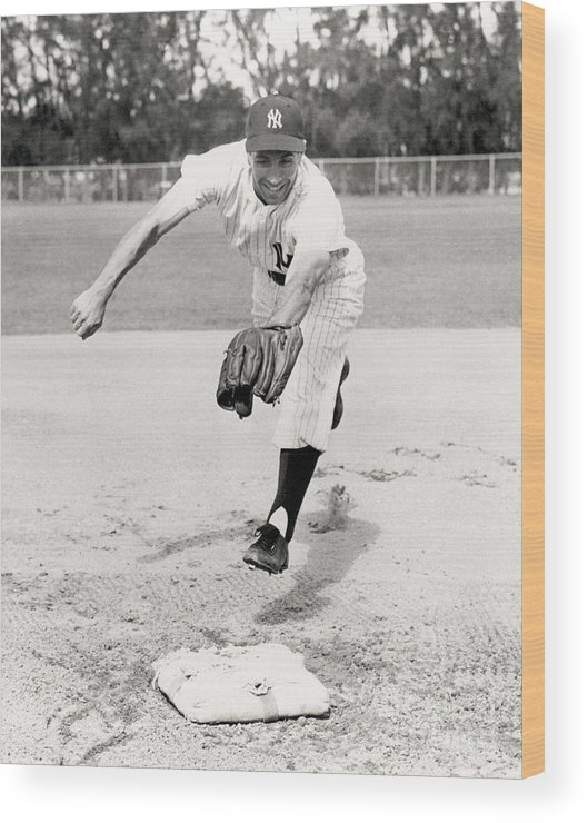 American League Baseball Wood Print featuring the photograph Phil Rizzuto by National Baseball Hall Of Fame Library
