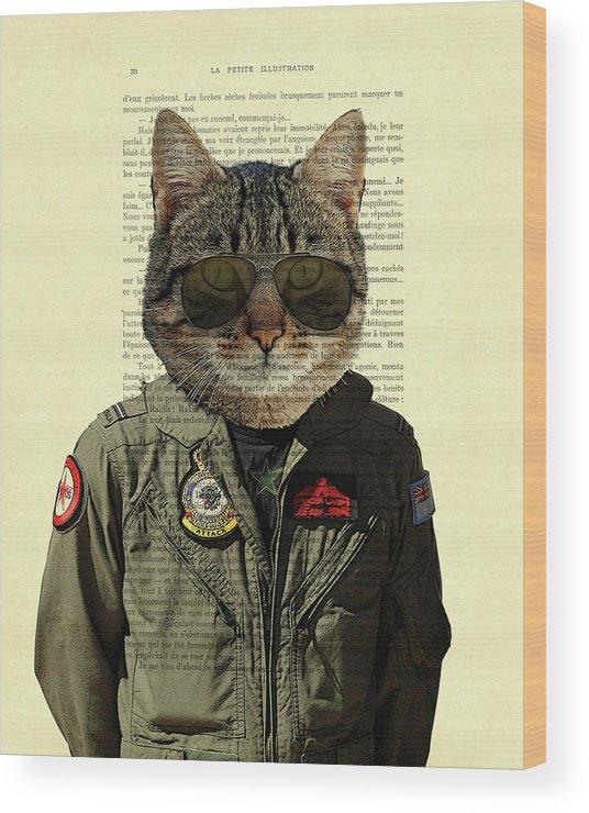 Cat Wood Print featuring the digital art Pilot cat portrait on antique book page by Madame Memento
