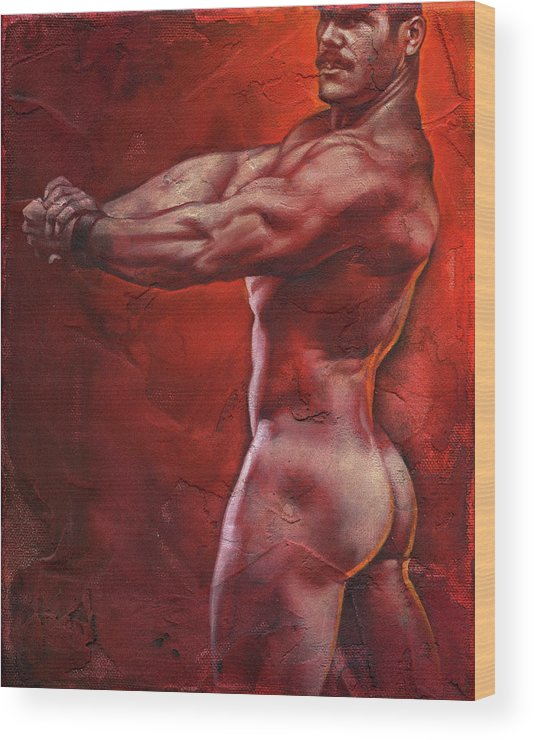 Male Wood Print featuring the painting Ready by Chris Lopez