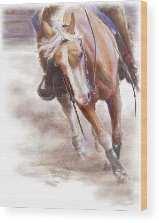 Horse Wood Print featuring the painting Reiner's Grace- Western Reining Horse by Connie Moses