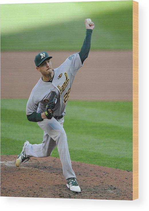 American League Baseball Wood Print featuring the photograph Scott Kazmir by Hannah Foslien