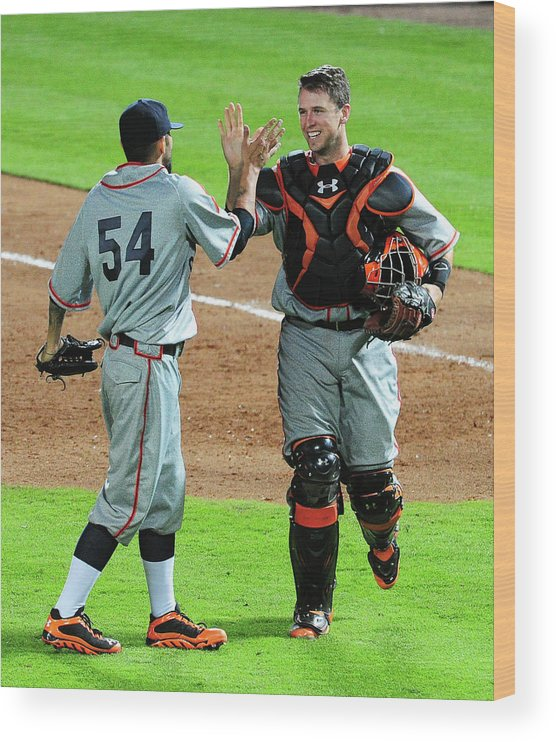 Atlanta Wood Print featuring the photograph Sergio Romo and Buster Posey by Scott Cunningham