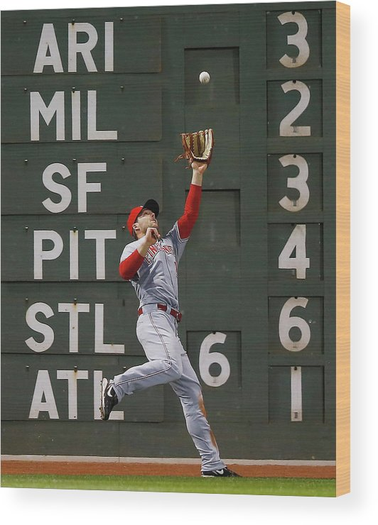 American League Baseball Wood Print featuring the photograph Shane Victorino and Chris Heisey by Jared Wickerham