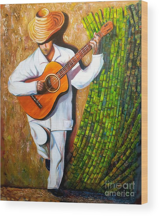 Cuban Art Wood Print featuring the painting Sugarcane Worker by Jose Manuel Abraham