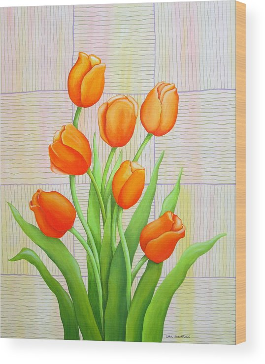 Tulips Wood Print featuring the painting Tangerine Tulips by Carol Sabo
