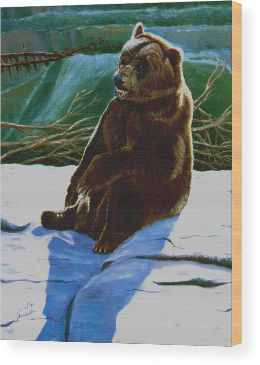 Original Oil On Canvas Wood Print featuring the painting The Bear by Stan Hamilton