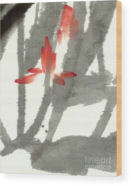 The Translucent Lotus Flowers Float Among Soft Swaying Leaves. This Is A Contemporary Chinese Ink And Watercolor On Rice Paper Painting. Wood Print featuring the painting Translucent by Mui-Joo Wee