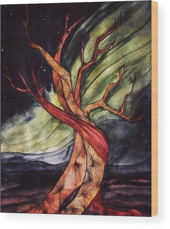 Tree Wood Print featuring the painting Tree with Northern Lights by Vonda Drees