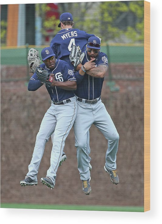 American League Baseball Wood Print featuring the photograph Wil Myers, Will Venable, and Matt Kemp by Jonathan Daniel