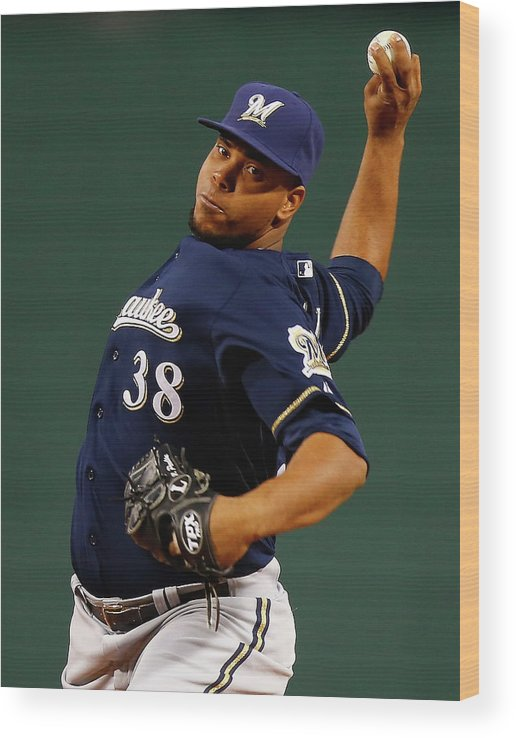 American League Baseball Wood Print featuring the photograph Wily Peralta by Jared Wickerham
