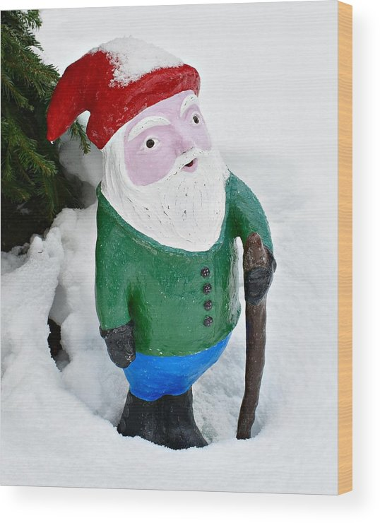 Gnome Wood Print featuring the sculpture Winter Gnome by Joylyn McChesnie
