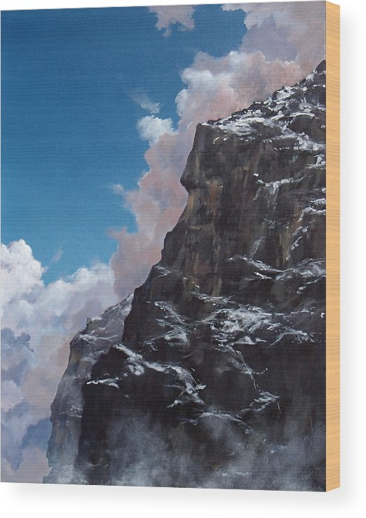 Yosemite Wood Print featuring the painting Yosemite cliff face by Philip Fleischer
