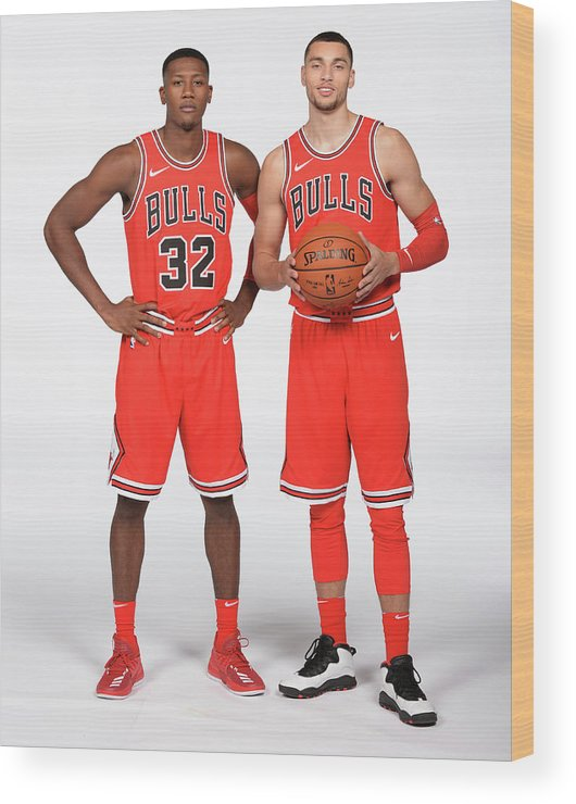 Media Day Wood Print featuring the photograph Zach Lavine and Kris Dunn by Randy Belice