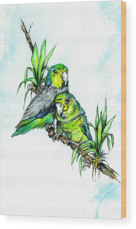 Parrolet Wood Print featuring the painting Love Me Tender. by Richard Brooks