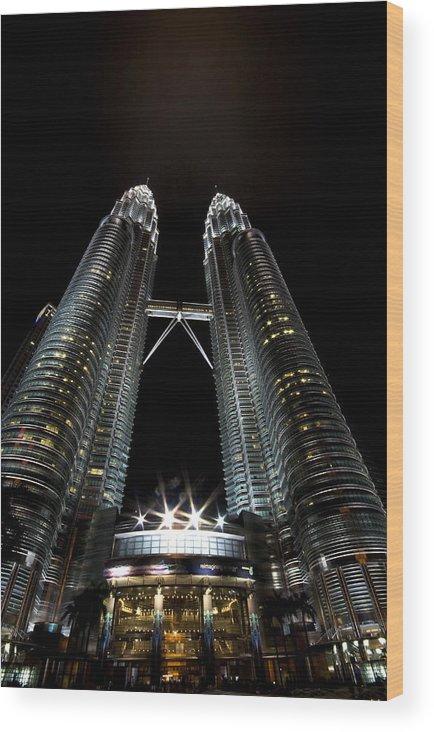 Twin Towers Wood Print featuring the photograph Twin Towers Petronas Kuala Lumpur Malaysia At Night by Dray Van Beeck