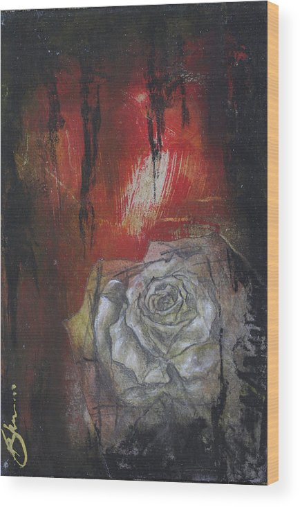 Floral Wood Print featuring the mixed media A Peek Of Beauty No.2 by Bhreon Bynum
