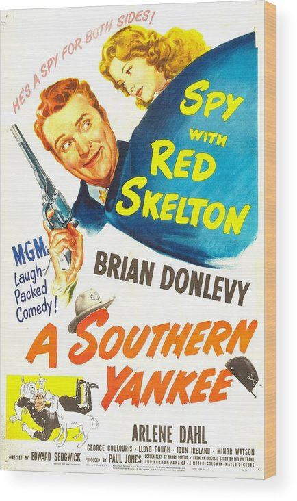 1940s Movies Wood Print featuring the photograph A Southern Yankee, Us Poster, Red by Everett