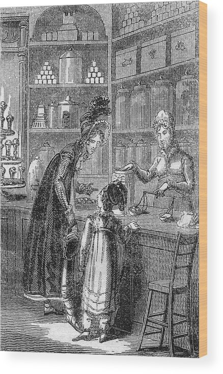 Confectioner Wood Print featuring the drawing A Young Well-off Mother Spoils by Mary Evans Picture Library