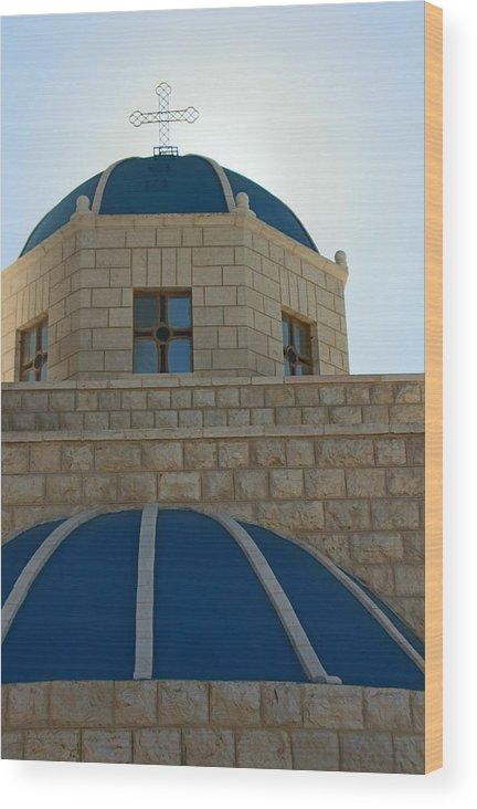 Orthodox Wood Print featuring the photograph Blue Domes by Munir Alawi