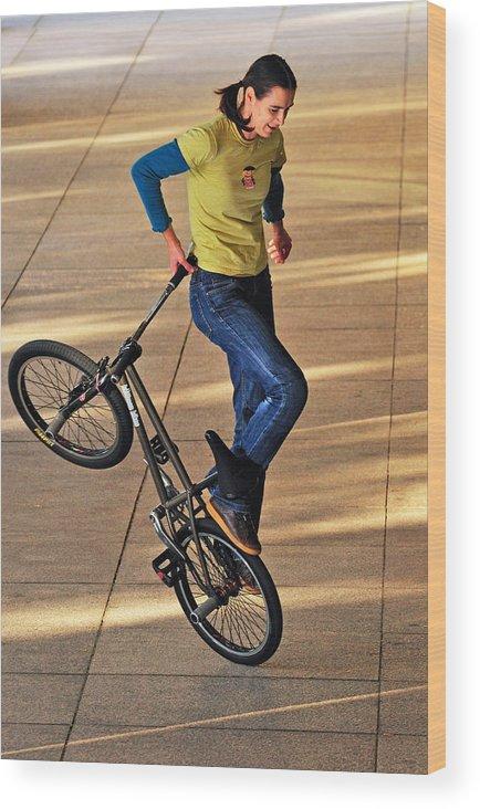 Bmx Flatland Wood Print featuring the photograph Bmx Flatland Ride - Wonderful Warm Light by Matthias Hauser