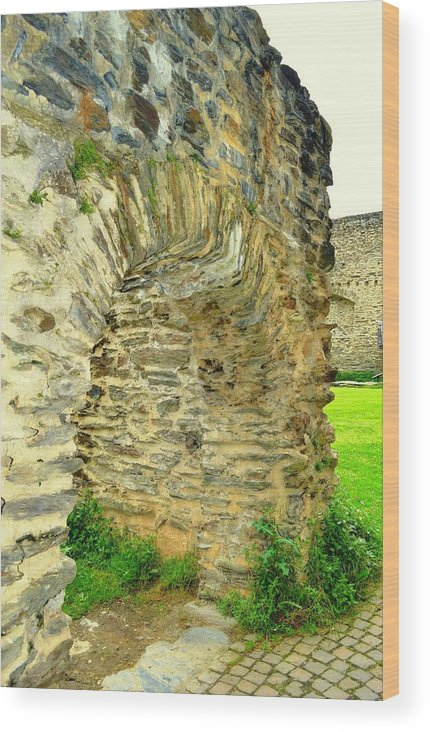 Boppard Germany Wood Print featuring the photograph Boppard Germany Ruins by Linda Covino