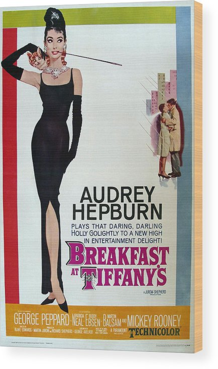 Breakfast At Tiffanys Movie Poster Wood Print featuring the digital art Breakfast At Tiffany's by Cool Canvas