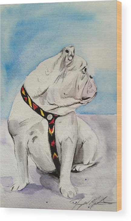 Dog Wood Print featuring the painting Bulldog by Jeremy Martinson