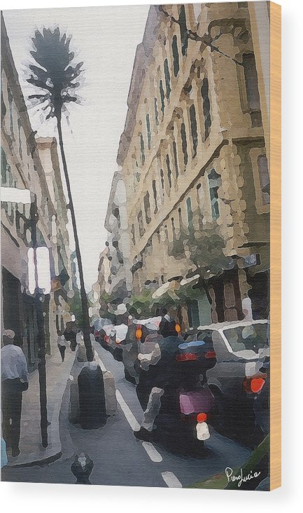Art Wood Print featuring the photograph Busi Street by Piero Lucia