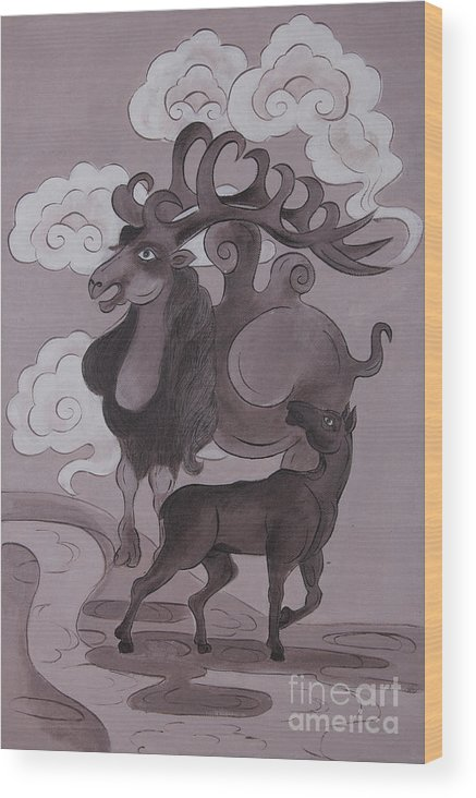 Folk Tales Wood Print featuring the painting Camel With Horn by Solongo Ochirbal