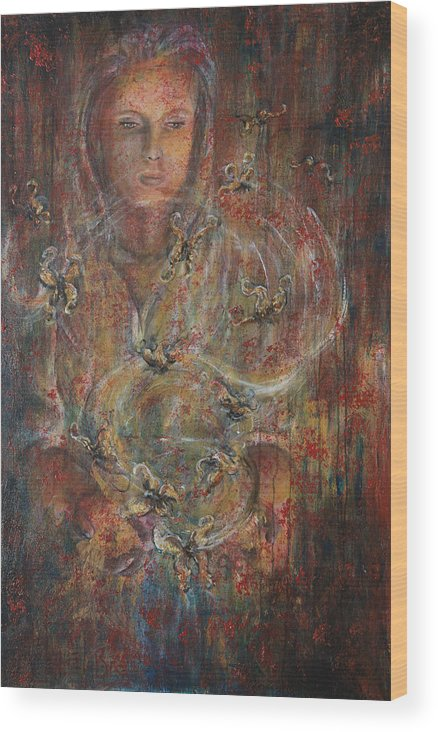 Divination Wood Print featuring the painting Divination by Nik Helbig
