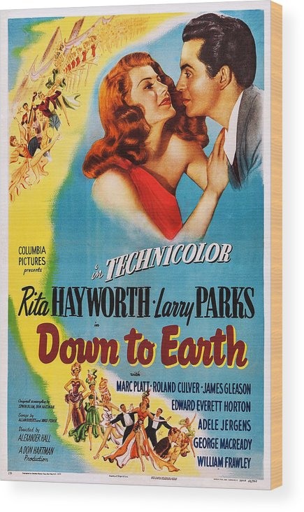1940s Movies Wood Print featuring the photograph Down To Earth, Us Poster Art, From Left by Everett