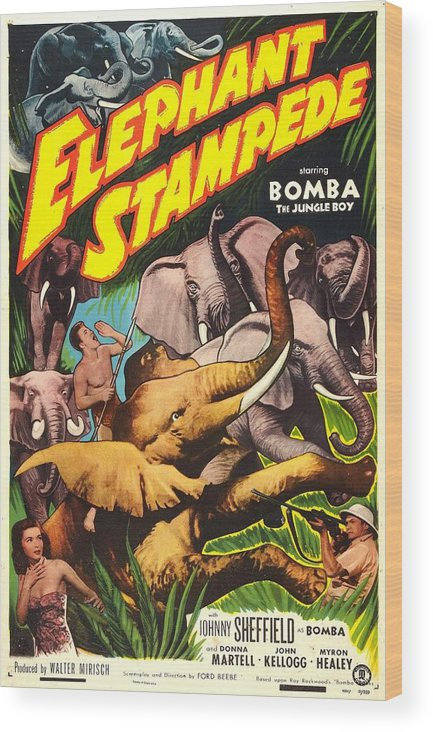 1950s Poster Art Wood Print featuring the photograph Elephant Stampede, Aka Bomba And The by Everett