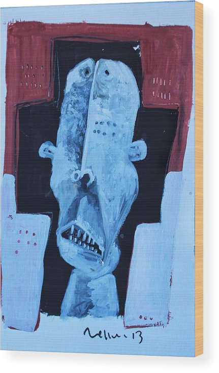 Face Wood Print featuring the painting Exanimus No. 7 by Mark M Mellon