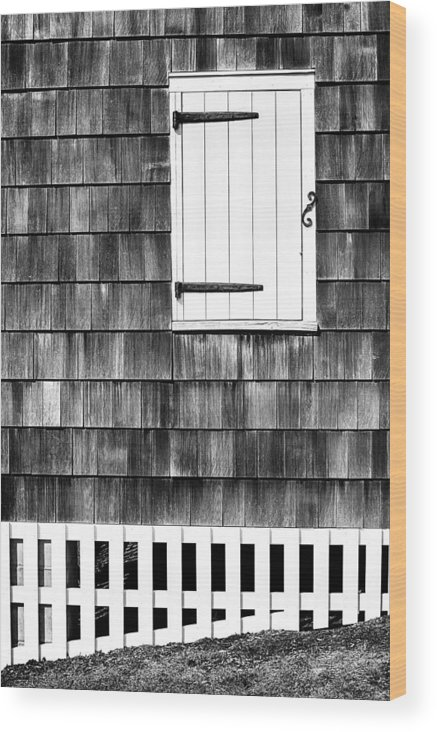 Shutter Wood Print featuring the photograph Fence Shutter And Weathered Wall by Gary Slawsky