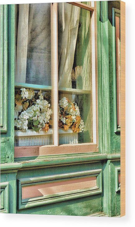 Flowers Wood Print featuring the photograph Flowers In The Window by Jean Goodwin Brooks