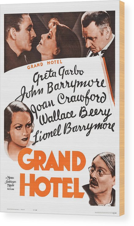 1930s Movies Wood Print featuring the photograph Grand Hotel, Us Poster, Top From Left by Everett