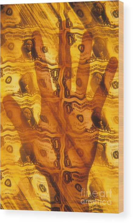 America Wood Print featuring the photograph Hand Grasping For Dollars by Novastock
