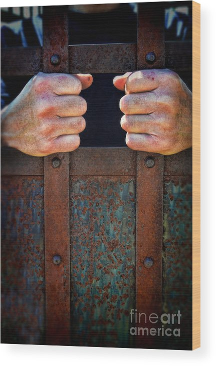Hands Wood Print featuring the photograph Hands On Prison Bars by Jill Battaglia
