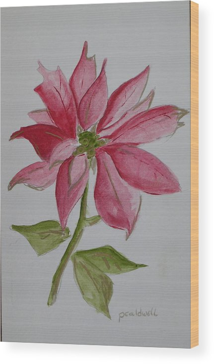 Flower Christmas Wood Print featuring the painting Holiday Flower by Patricia Caldwell