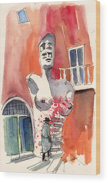 Italy Wood Print featuring the painting Italian Sculptures 05 by Miki De Goodaboom
