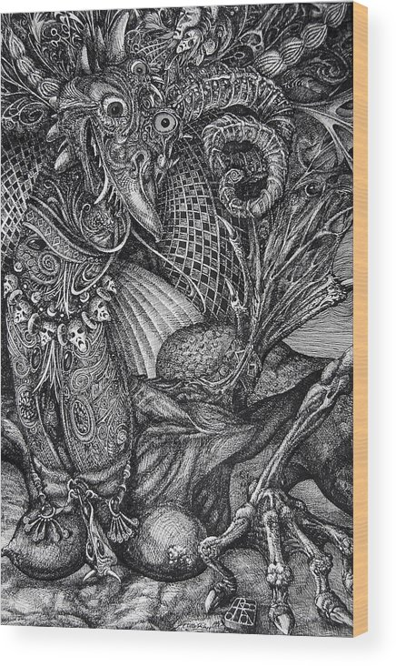 Surrealism Wood Print featuring the drawing Jabberwocky by Otto Rapp