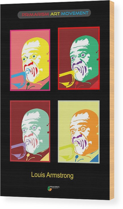 Louis Armstrong Wood Print featuring the digital art Louis Armstrong by Herman Cerrato