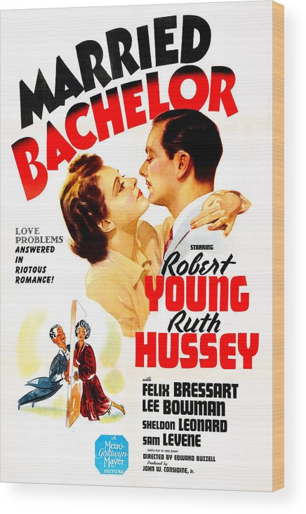 1940s Movies Wood Print featuring the photograph Married Bachelor, Us Poster, Ruth by Everett