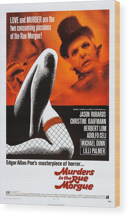 1970s Poster Art Wood Print featuring the photograph Murders In The Rue Morgue, Herbert Lom by Everett