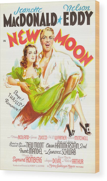 1940 Movies Wood Print featuring the photograph New Moon, Us Poster, Nelson Eddy by Everett