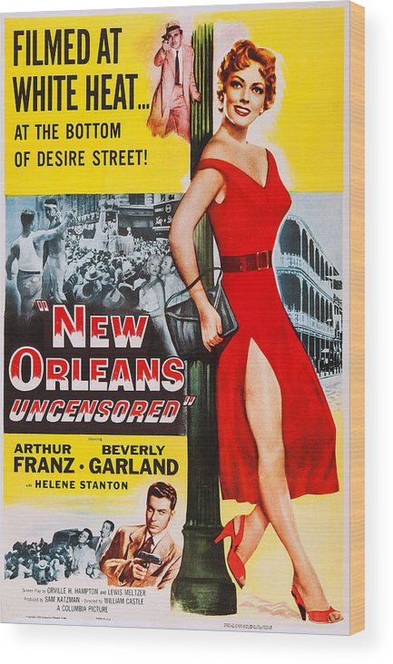 1950s Poster Art Wood Print featuring the photograph New Orleans Uncensored, Us Poster, Top by Everett