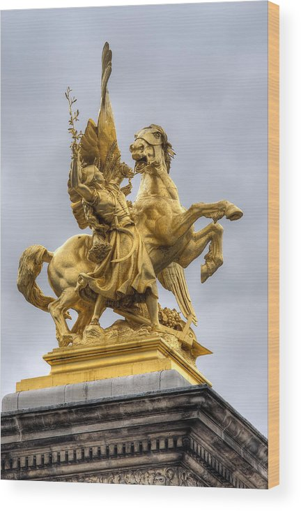 Paris Wood Print featuring the photograph Paris Statue by Ioan Panaite